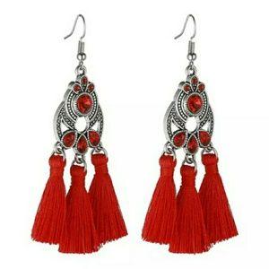 Red Crystal Tassel Earrings